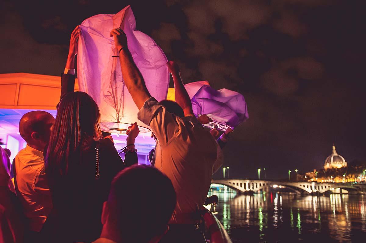 Lancé de Skylantern sur une péniche de Lyon